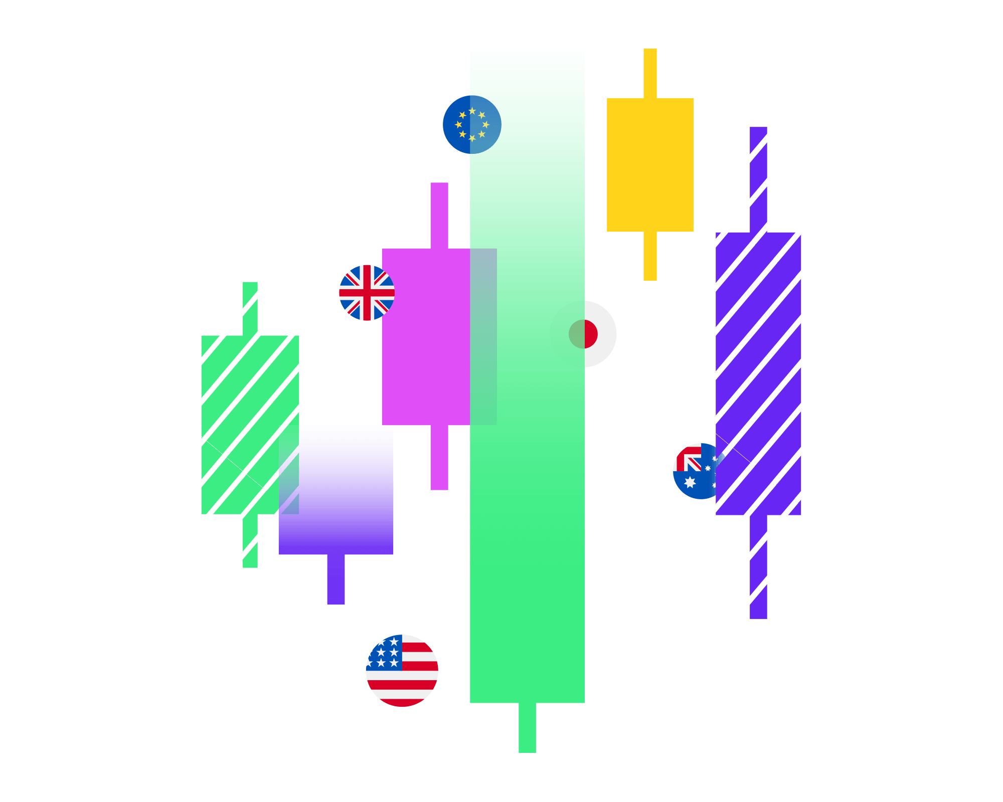 forex shapes and currencies illustration